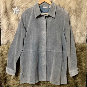 Vintage Nordstrom Baby Blue Leather Button Down